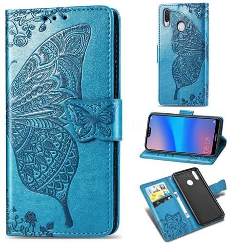 Embossing Mandala Flower Butterfly Leather Wallet Case for Huawei P20 Lite - Blue