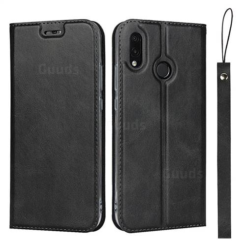 Calf Pattern Magnetic Automatic Suction Leather Wallet Case for Huawei P20 Lite - Black