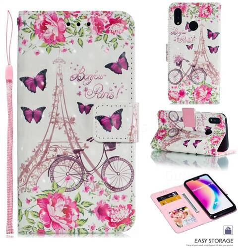 Bicycle Flower Tower 3D Painted Leather Phone Wallet Case for Huawei P20 Lite