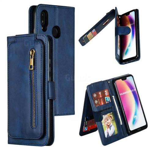 Multifunction 9 Cards Leather Zipper Wallet Phone Case for Huawei P20 Lite - Blue