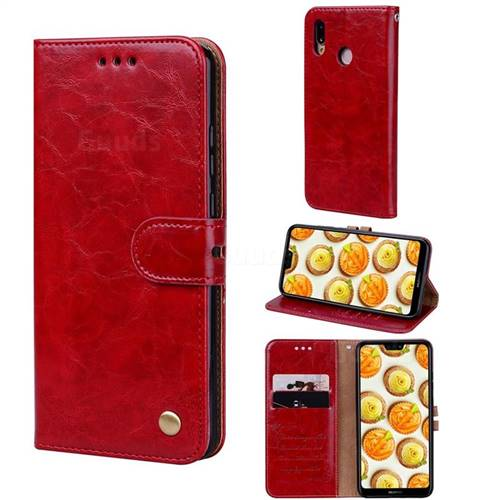 Luxury Retro Oil Wax PU Leather Wallet Phone Case for Huawei P20 Lite - Brown Red