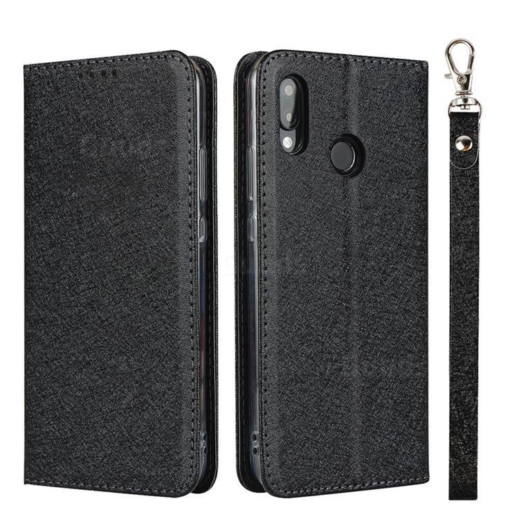 Ultra Slim Magnetic Automatic Suction Silk Lanyard Leather Flip Cover for Huawei P20 Lite - Black