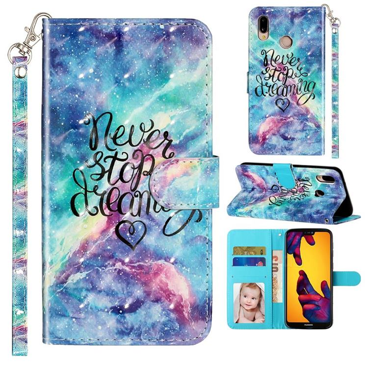 Blue Starry Sky 3D Leather Phone Holster Wallet Case for Huawei P20 Lite