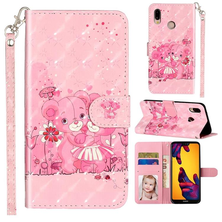 Pink Bear 3D Leather Phone Holster Wallet Case for Huawei P20 Lite
