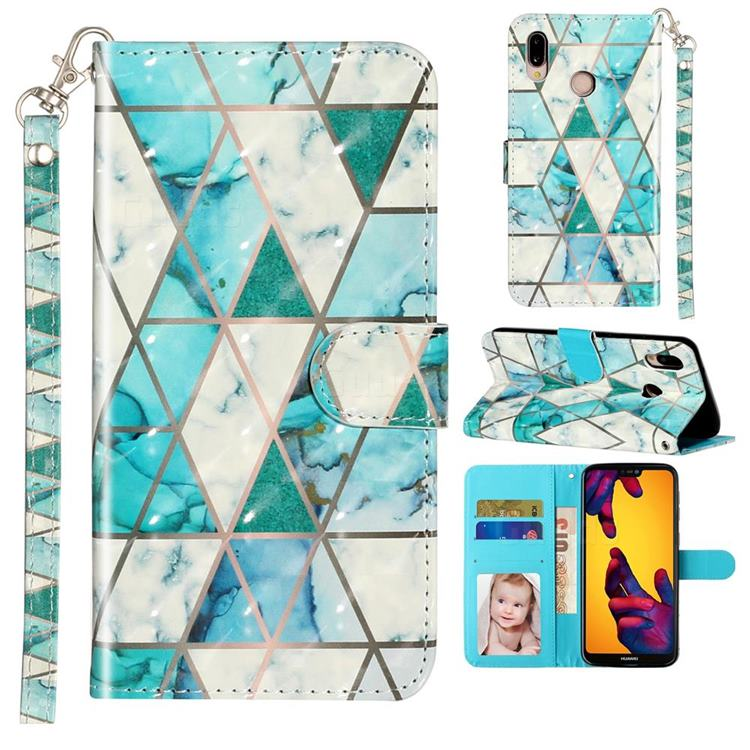 Stitching Marble 3D Leather Phone Holster Wallet Case for Huawei P20 Lite