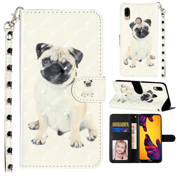 Pug Dog 3D Leather Phone Holster Wallet Case for Huawei P20 Lite