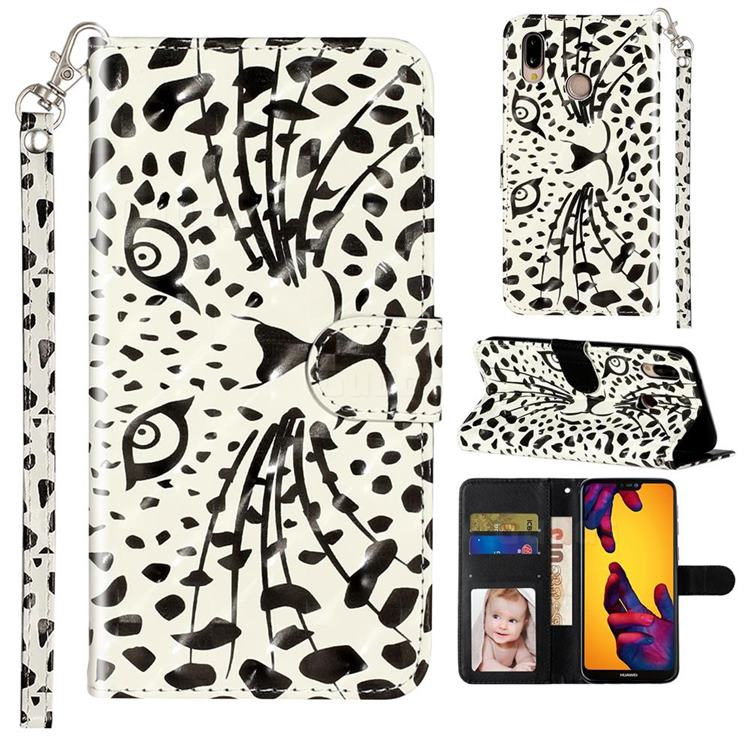 Leopard Panther 3D Leather Phone Holster Wallet Case for Huawei P20 Lite