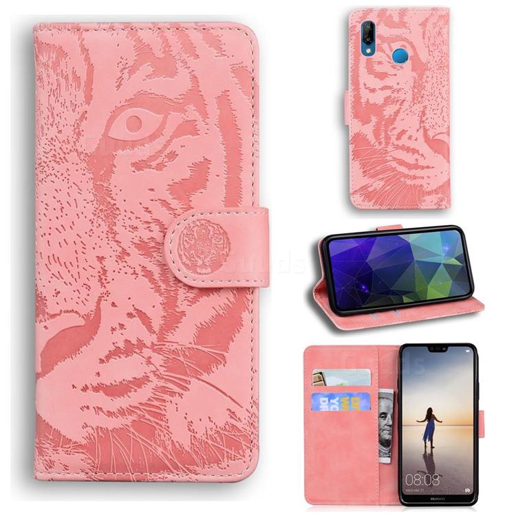 Intricate Embossing Tiger Face Leather Wallet Case for Huawei P20 Lite - Pink
