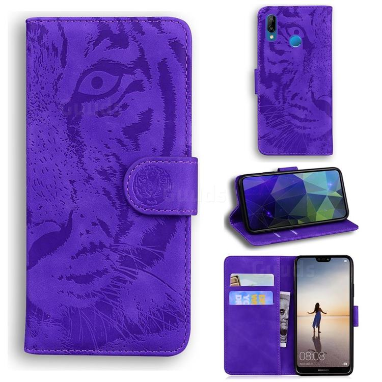 Intricate Embossing Tiger Face Leather Wallet Case for Huawei P20 Lite - Purple
