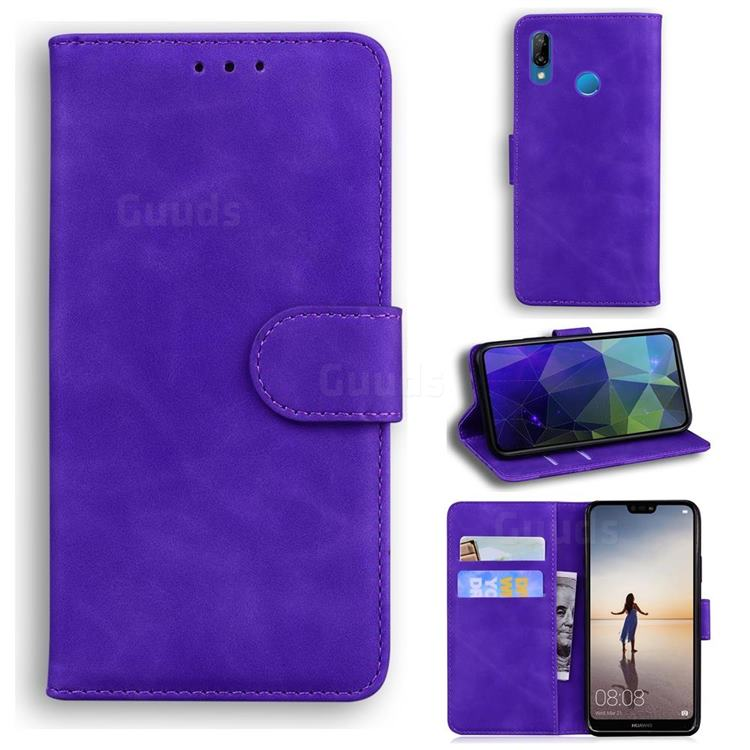 Retro Classic Skin Feel Leather Wallet Phone Case for Huawei P20 Lite - Purple