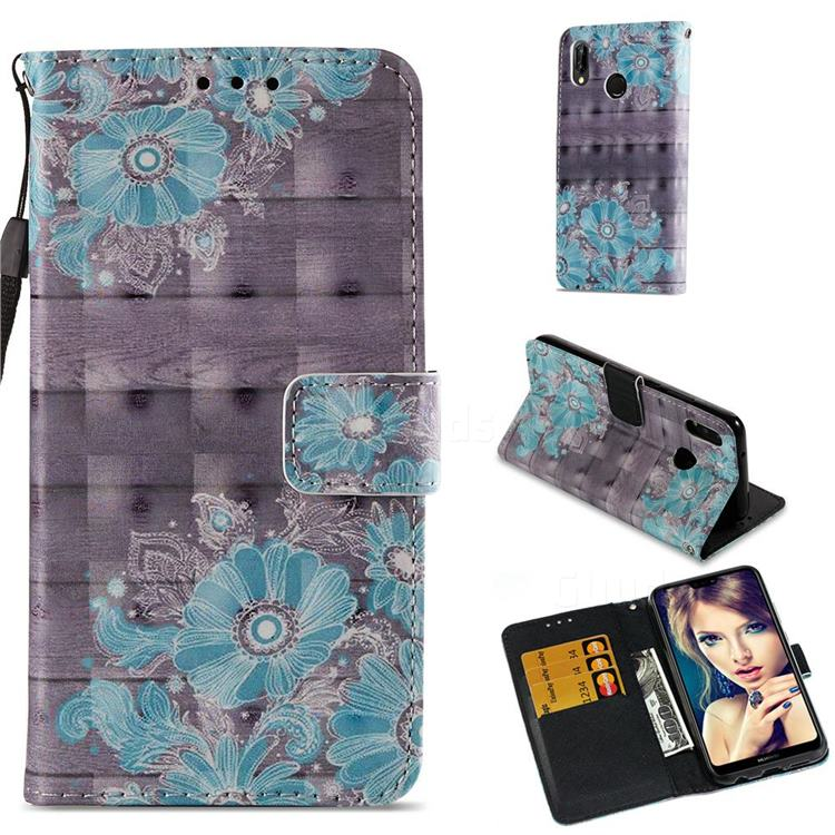 Blue Flower 3D Painted Leather Wallet Case for Huawei P20 Lite