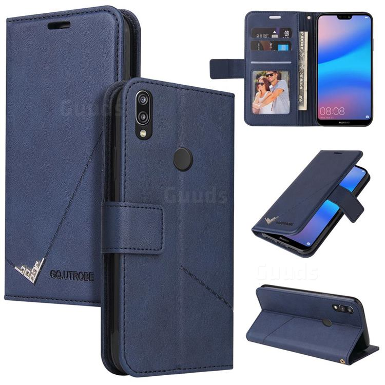 GQ.UTROBE Right Angle Silver Pendant Leather Wallet Phone Case for Huawei P20 Lite - Blue