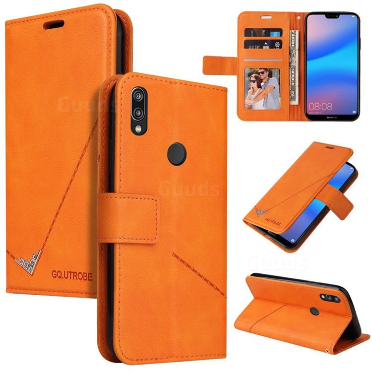 GQ.UTROBE Right Angle Silver Pendant Leather Wallet Phone Case for Huawei P20 Lite - Orange
