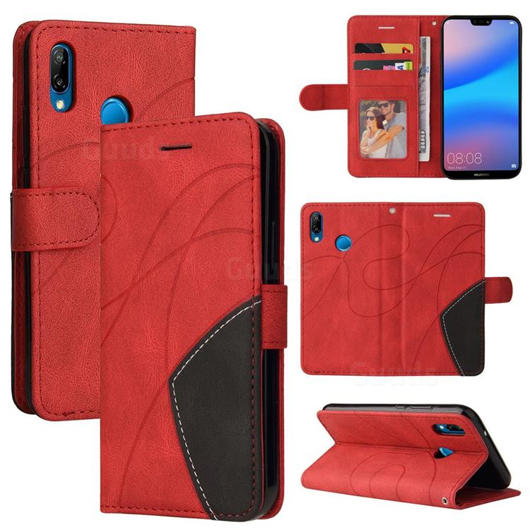 Luxury Two-color Stitching Leather Wallet Case Cover for Huawei P20 Lite - Red
