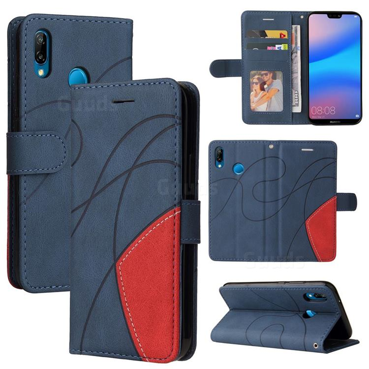 Luxury Two-color Stitching Leather Wallet Case Cover for Huawei P20 Lite - Blue
