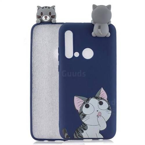 Big Face Cat Soft 3D Climbing Doll Soft Case for Huawei P20 Lite(2019)