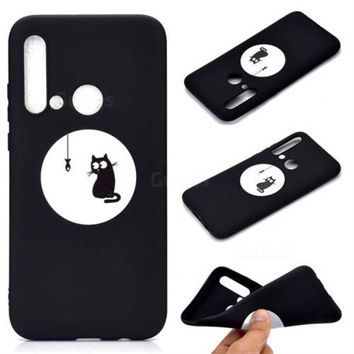 Fish Fishing Cat Chalk Drawing Matte Black TPU Phone Cover for Huawei P20 Lite(2019)