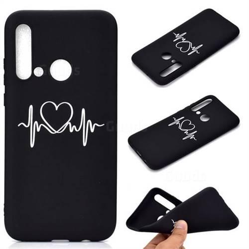 Heart Radio Wave Chalk Drawing Matte Black TPU Phone Cover for Huawei P20 Lite(2019)