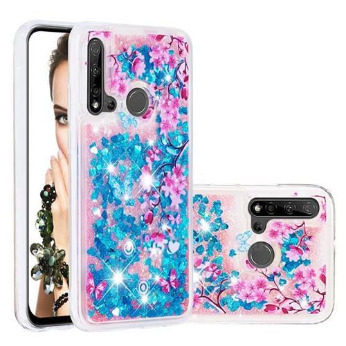 Blue Plum Blossom Dynamic Liquid Glitter Quicksand Soft TPU Case for Huawei P20 Lite(2019)