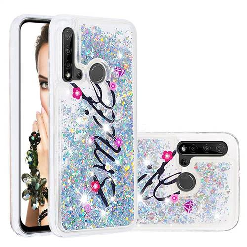 Smile Flower Dynamic Liquid Glitter Quicksand Soft TPU Case for Huawei P20 Lite(2019)