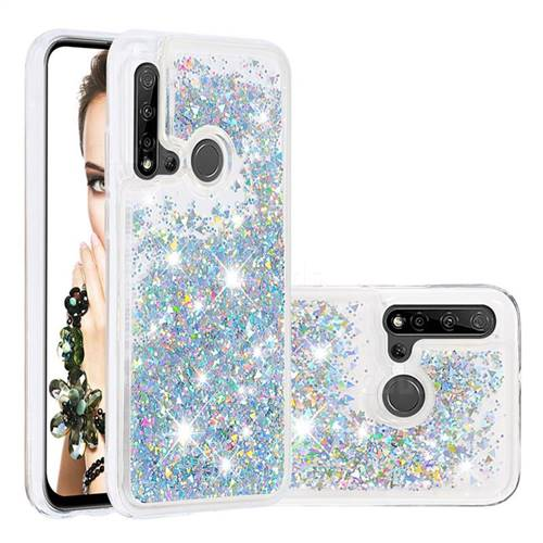 Dynamic Liquid Glitter Quicksand Sequins TPU Phone Case for Huawei P20 Lite(2019) - Silver