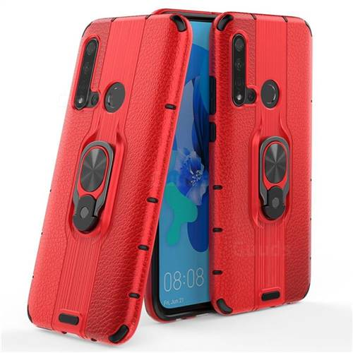 Alita Battle Angel Armor Metal Ring Grip Shockproof Dual Layer Rugged Hard Cover for Huawei P20 Lite(2019) - Red