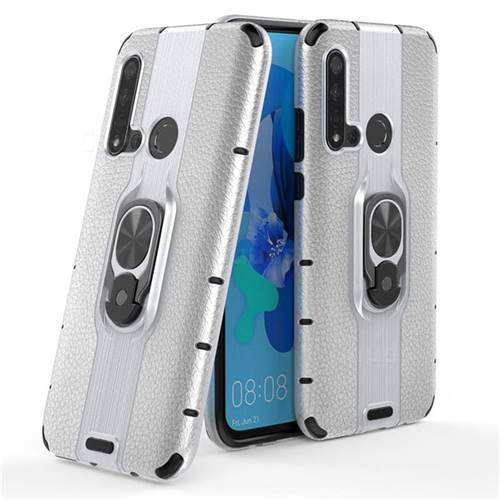 Alita Battle Angel Armor Metal Ring Grip Shockproof Dual Layer Rugged Hard Cover for Huawei P20 Lite(2019) - Silver