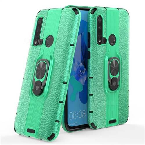Alita Battle Angel Armor Metal Ring Grip Shockproof Dual Layer Rugged Hard Cover for Huawei P20 Lite(2019) - Green