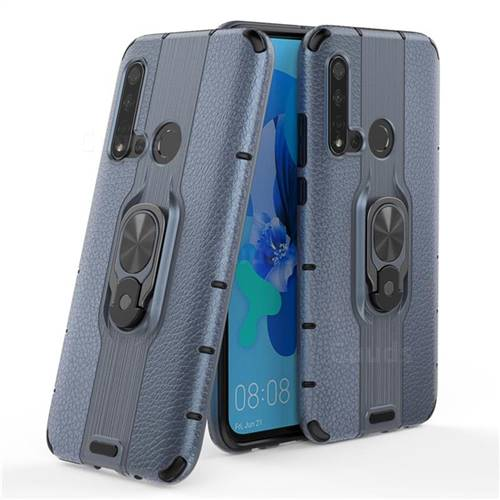 Alita Battle Angel Armor Metal Ring Grip Shockproof Dual Layer Rugged Hard Cover for Huawei P20 Lite(2019) - Blue