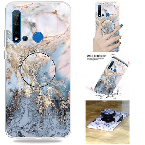 Golden Gray Marble Pop Stand Holder Varnish Phone Cover for Huawei P20  Lite(2019)