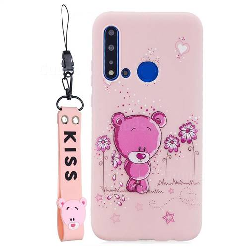 Pink Flower Bear Soft Kiss Candy Hand Strap Silicone Case for Huawei P20 Lite(2019)