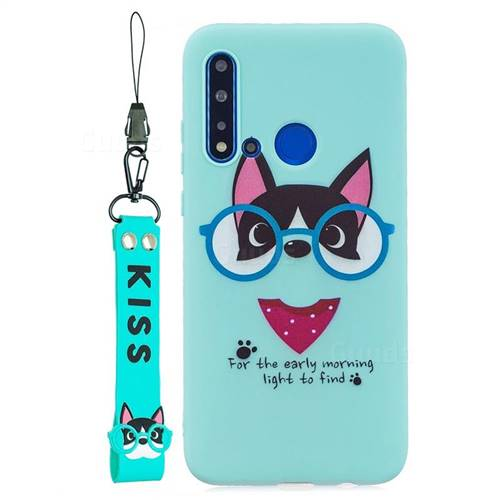 Green Glasses Dog Soft Kiss Candy Hand Strap Silicone Case for Huawei P20 Lite(2019)