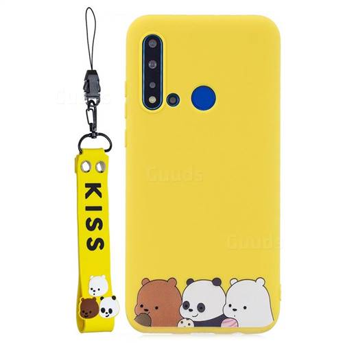 Yellow Bear Family Soft Kiss Candy Hand Strap Silicone Case for Huawei P20 Lite(2019)