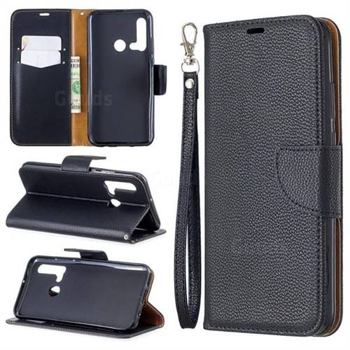 Classic Luxury Litchi Leather Phone Wallet Case for Huawei P20 Lite(2019) - Black