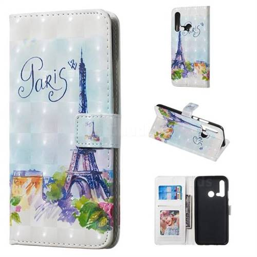 Paris Tower 3D Painted Leather Phone Wallet Case for Huawei P20 Lite(2019)