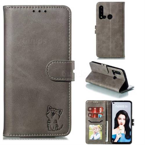 Embossing Happy Cat Leather Wallet Case for Huawei P20 Lite(2019) - Gray