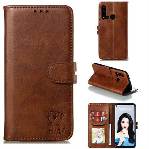 Embossing Happy Cat Leather Wallet Case for Huawei P20 Lite(2019) - Brown