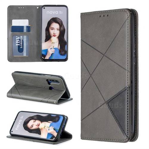 Prismatic Slim Magnetic Sucking Stitching Wallet Flip Cover for Huawei P20 Lite(2019) - Gray