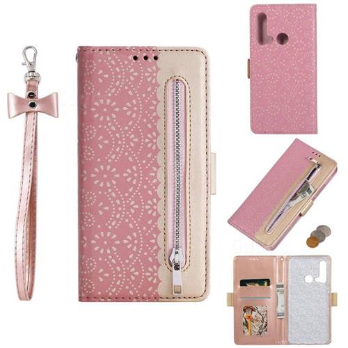Luxury Lace Zipper Stitching Leather Phone Wallet Case for Huawei P20 Lite(2019) - Pink