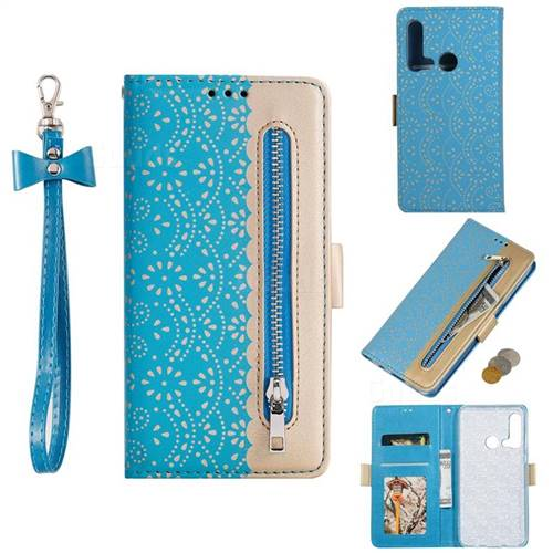 Luxury Lace Zipper Stitching Leather Phone Wallet Case for Huawei P20 Lite(2019) - Blue