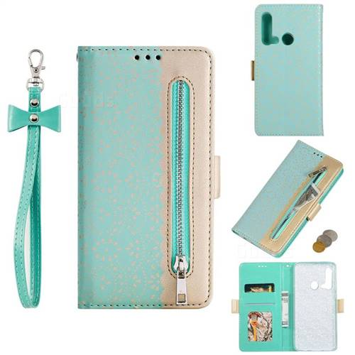 Luxury Lace Zipper Stitching Leather Phone Wallet Case for Huawei P20 Lite(2019) - Green