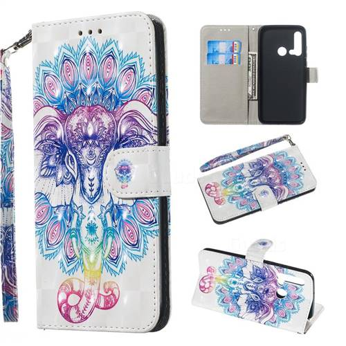 Colorful Elephant 3D Painted Leather Wallet Phone Case for Huawei P20 Lite(2019)
