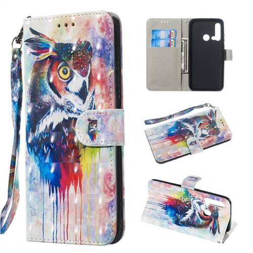 Watercolor Owl 3D Painted Leather Wallet Phone Case for Huawei P20 Lite(2019)