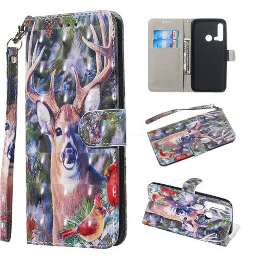 Elk Deer 3D Painted Leather Wallet Phone Case for Huawei P20 Lite(2019)