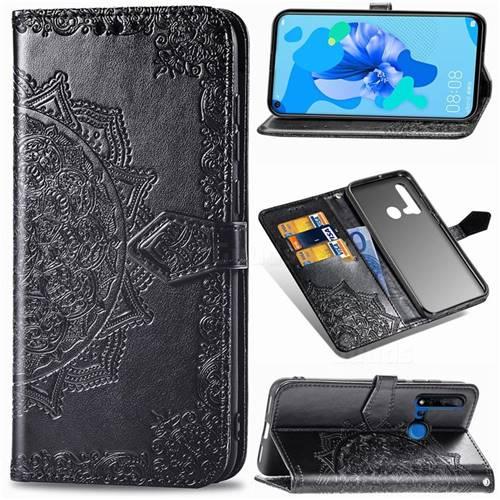 Embossing Imprint Mandala Flower Leather Wallet Case for Huawei P20 Lite(2019) - Black