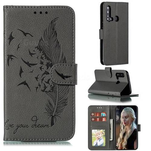 Intricate Embossing Lychee Feather Bird Leather Wallet Case for Huawei P20 Lite(2019) - Gray