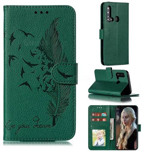 Intricate Embossing Lychee Feather Bird Leather Wallet Case for Huawei P20 Lite(2019) - Green