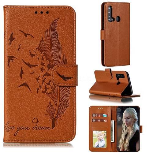 Intricate Embossing Lychee Feather Bird Leather Wallet Case for Huawei P20 Lite(2019) - Brown