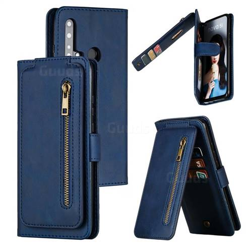 Multifunction 9 Cards Leather Zipper Wallet Phone Case for Huawei P20 Lite(2019) - Blue