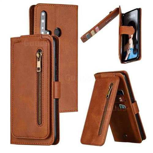 Multifunction 9 Cards Leather Zipper Wallet Phone Case for Huawei P20 Lite(2019) - Brown